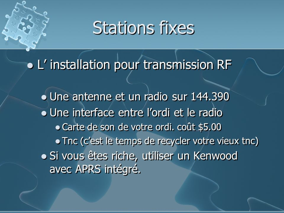 Stations fixes L' installation pour transmission RF