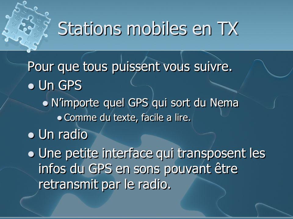 Stations mobiles en TX Pour que tous puissent vous suivre. Un GPS