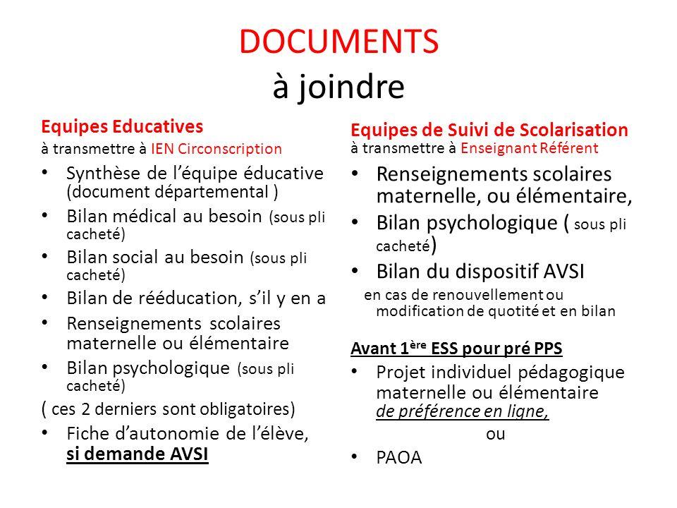 DOCUMENTS à joindre Equipes Educatives. à transmettre à IEN Circonscription. Equipes de Suivi de Scolarisation à transmettre à Enseignant Référent.