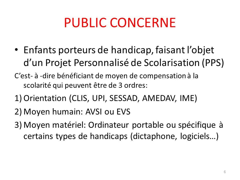 PUBLIC CONCERNE Enfants porteurs de handicap, faisant l'objet d'un Projet Personnalisé de Scolarisation (PPS)