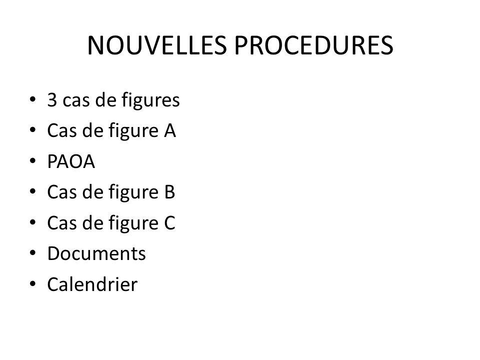 NOUVELLES PROCEDURES 3 cas de figures Cas de figure A PAOA