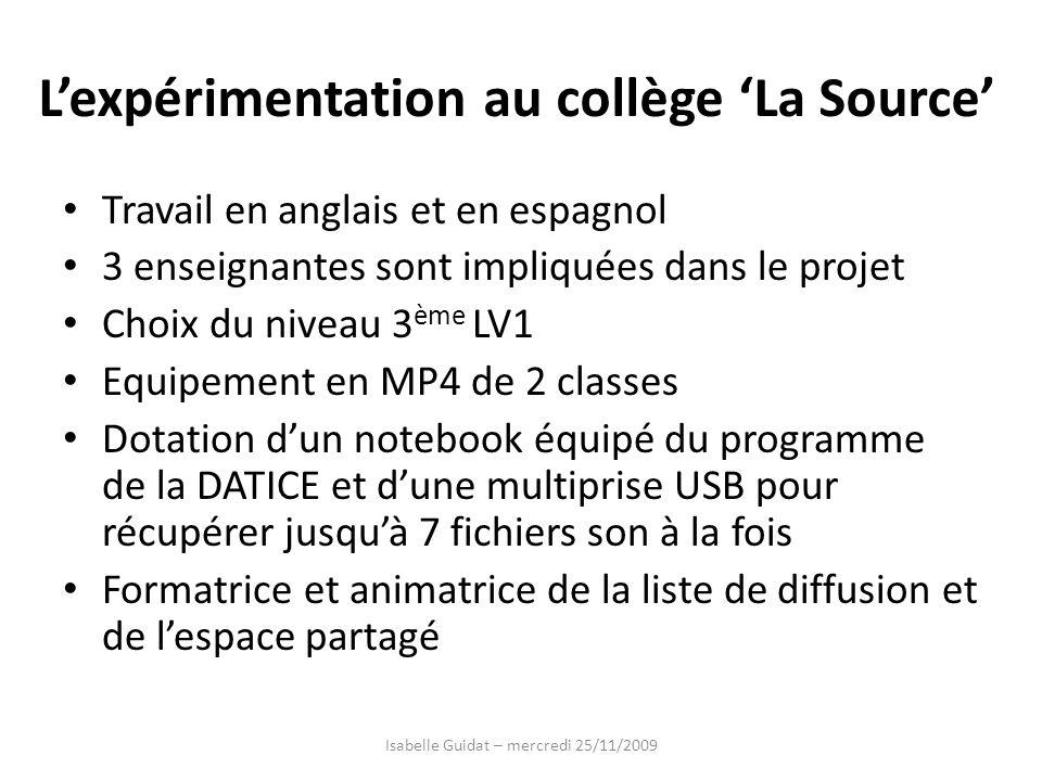 L'expérimentation au collège 'La Source'