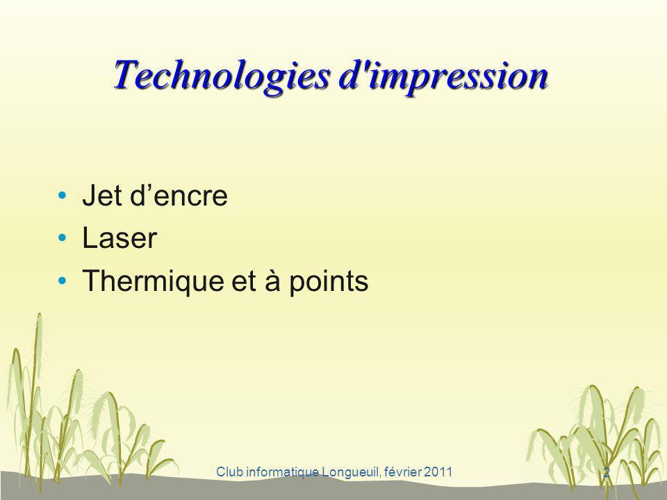 Technologies d impression