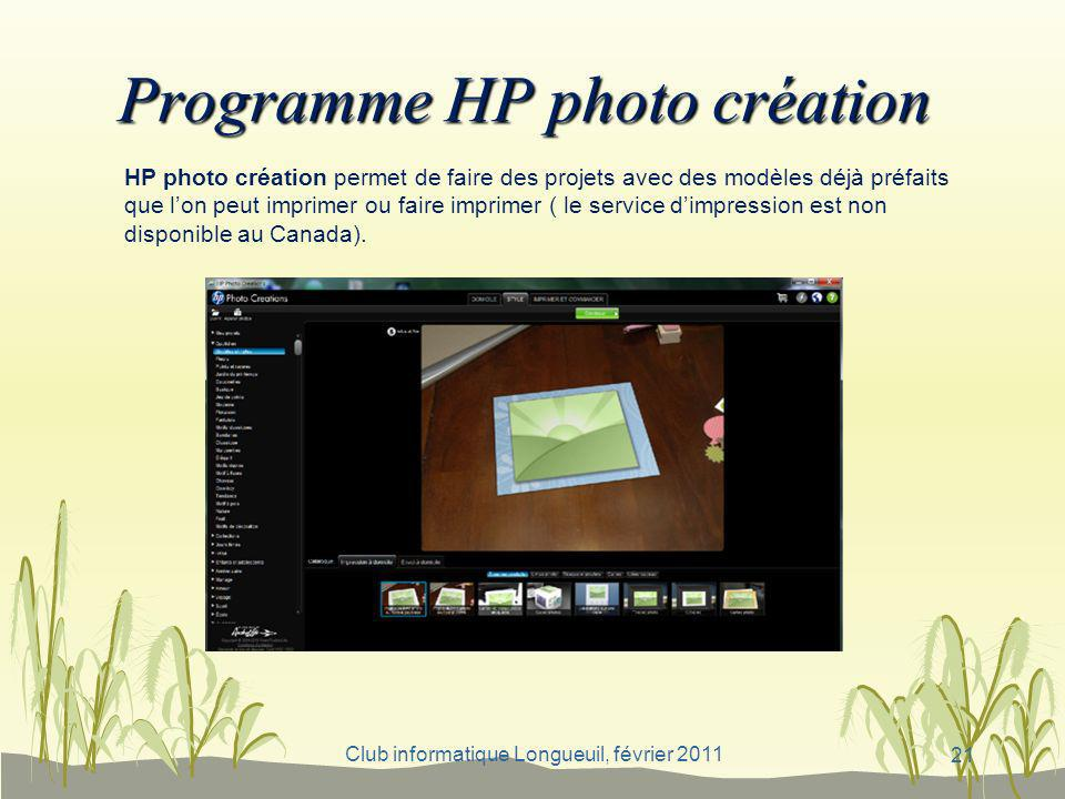 Programme HP photo création