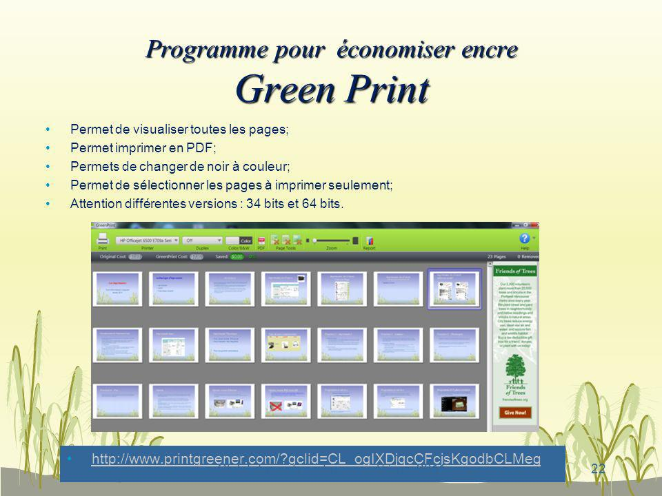 Programme pour économiser encre Green Print