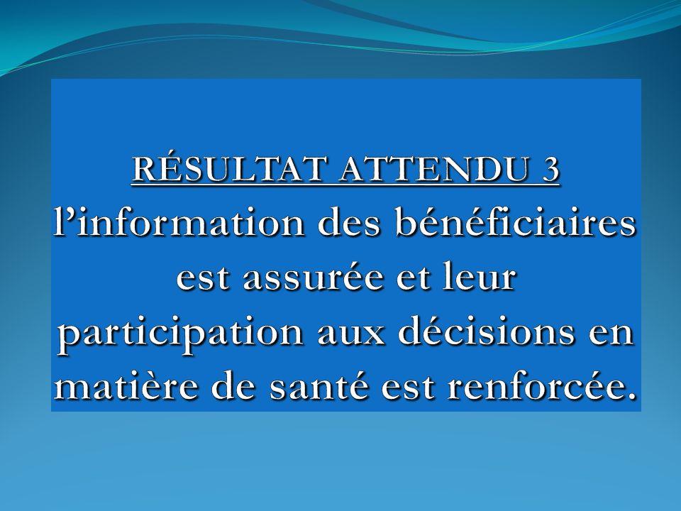 RÉSULTAT ATTENDU 3 l'information des bénéficiaires est assurée et leur participation aux décisions en matière de santé est renforcée.