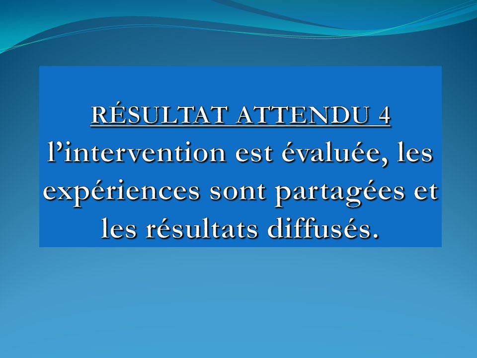 RÉSULTAT ATTENDU 4 l'intervention est évaluée, les expériences sont partagées et les résultats diffusés.