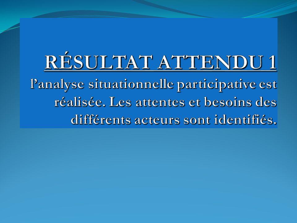 RÉSULTAT ATTENDU 1 l'analyse situationnelle participative est réalisée