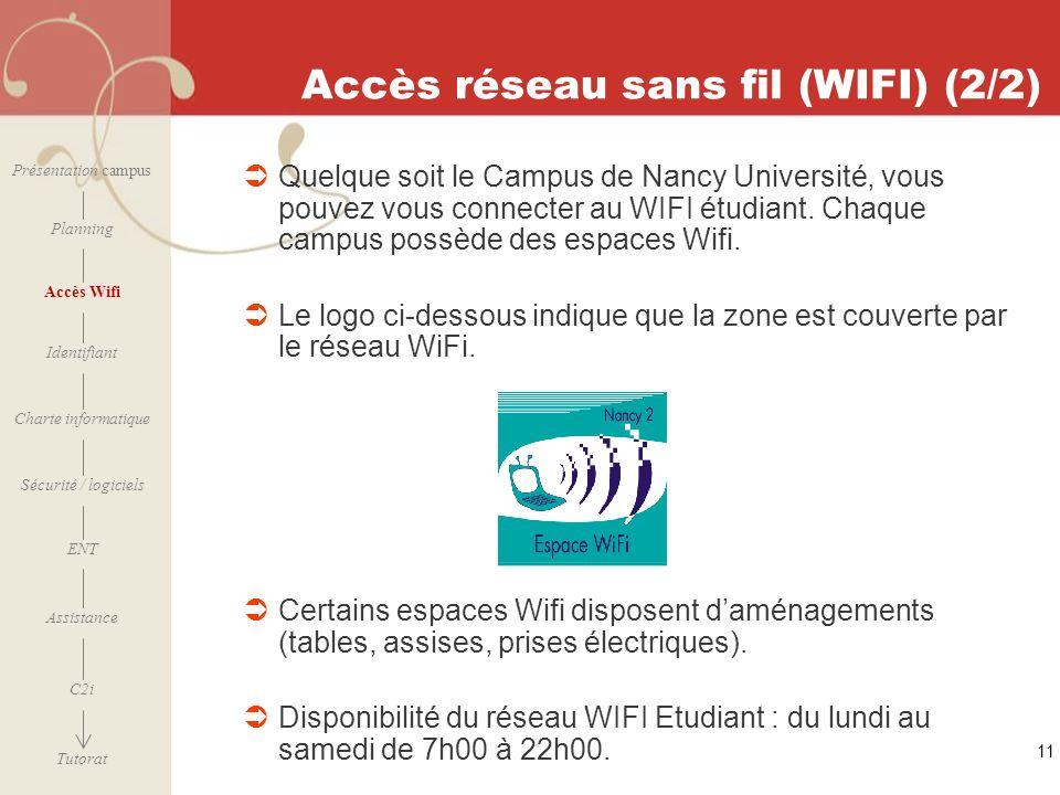Accès réseau sans fil (WIFI) (2/2)