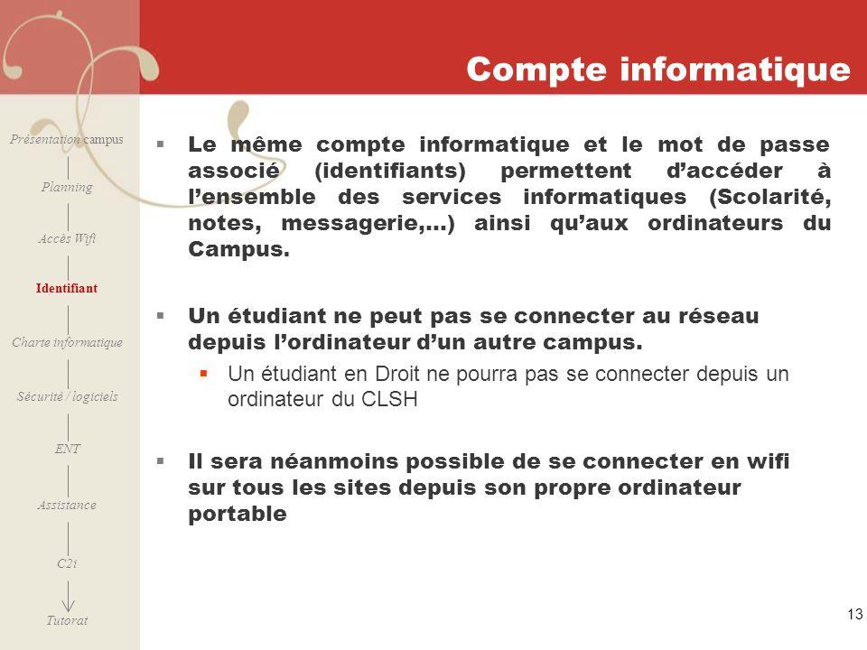 Compte informatique Présentation campus.