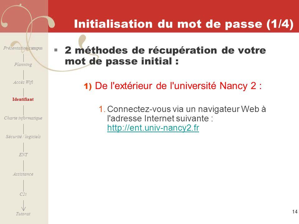 Initialisation du mot de passe (1/4)