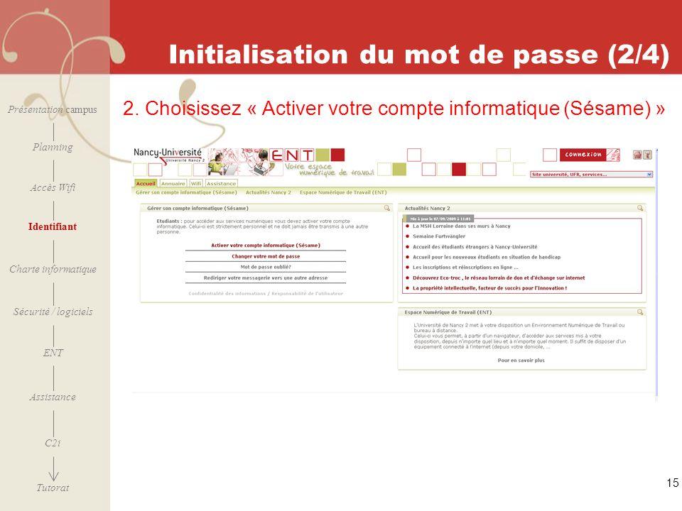 Initialisation du mot de passe (2/4)