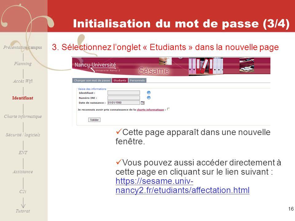 Initialisation du mot de passe (3/4)