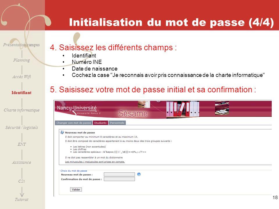 Initialisation du mot de passe (4/4)
