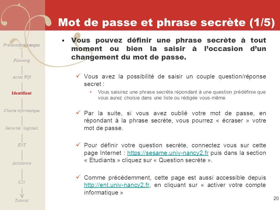 Mot de passe et phrase secrète (1/5)