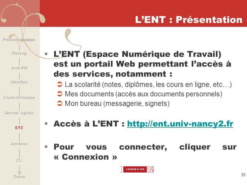 L'ENT : Présentation Présentation campus. L'ENT (Espace Numérique de Travail) est un portail Web permettant l'accès à des services, notamment :