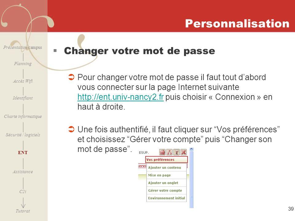 Personnalisation Changer votre mot de passe