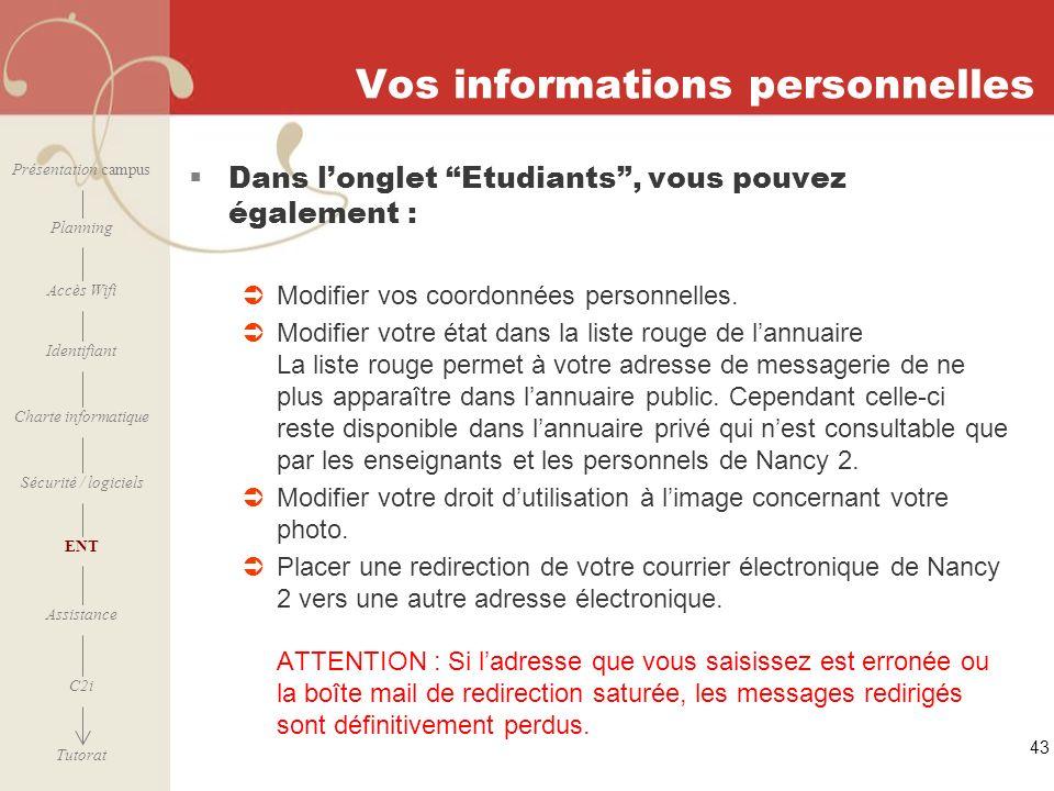Vos informations personnelles