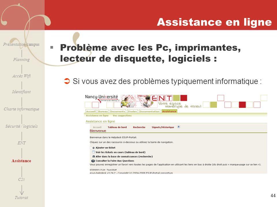 Assistance en ligne Présentation campus. Problème avec les Pc, imprimantes, lecteur de disquette, logiciels :
