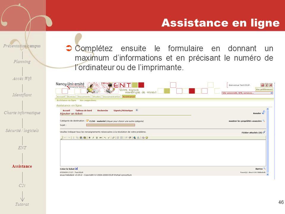 Assistance en ligne Présentation campus.
