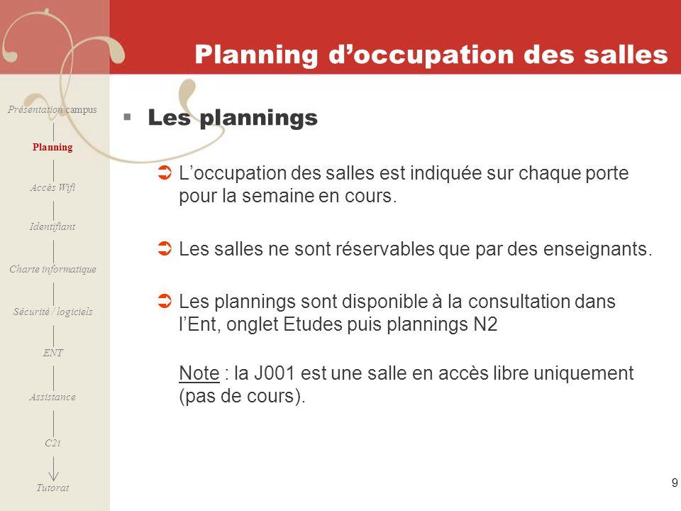 Planning d'occupation des salles