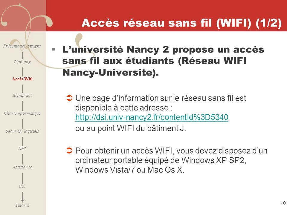 Accès réseau sans fil (WIFI) (1/2)