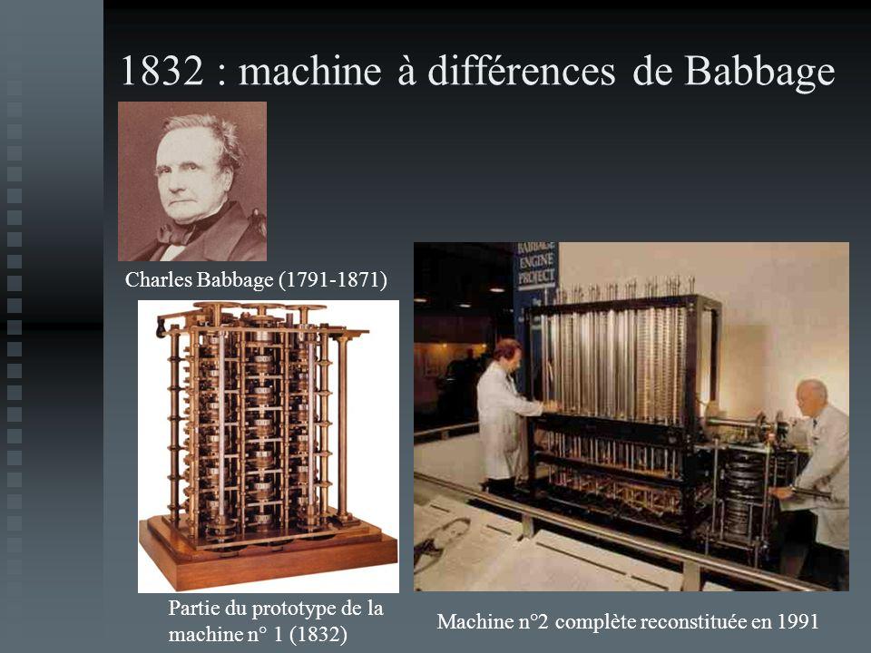 1832 : machine à différences de Babbage