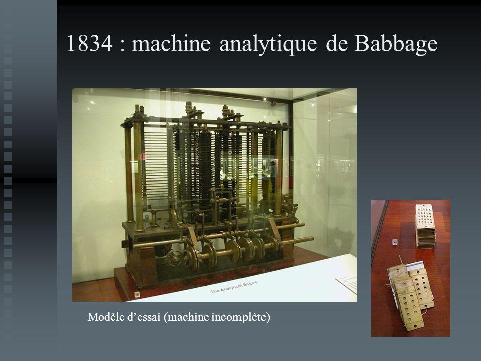 1834 : machine analytique de Babbage