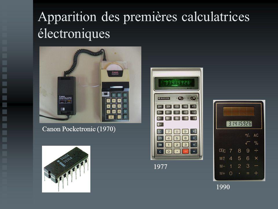 Apparition des premières calculatrices électroniques