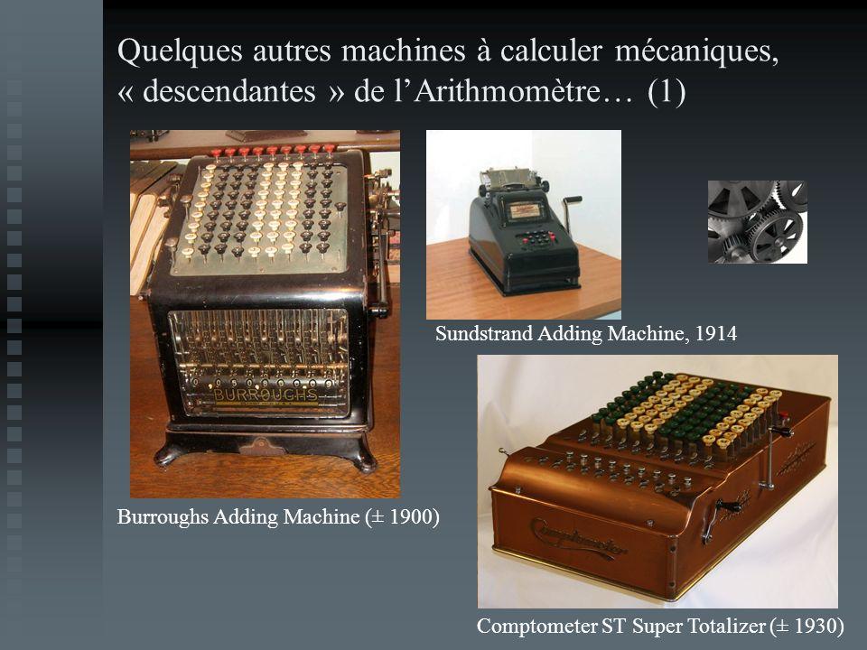Quelques autres machines à calculer mécaniques, « descendantes » de l'Arithmomètre… (1)