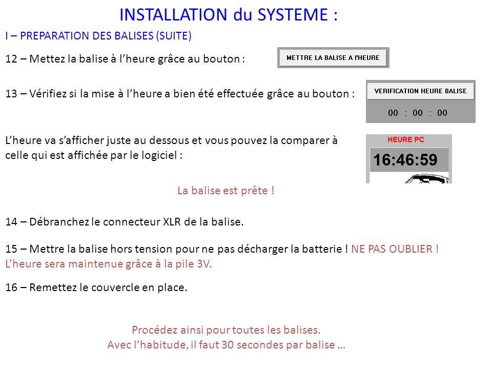 INSTALLATION du SYSTEME :