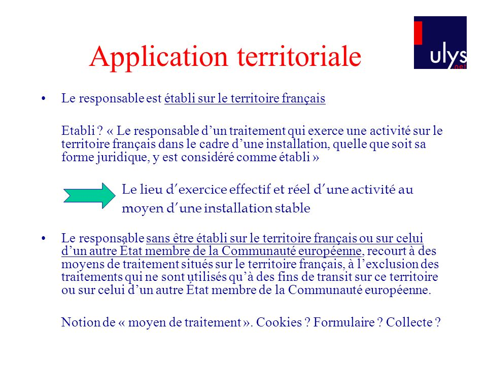 Application territoriale