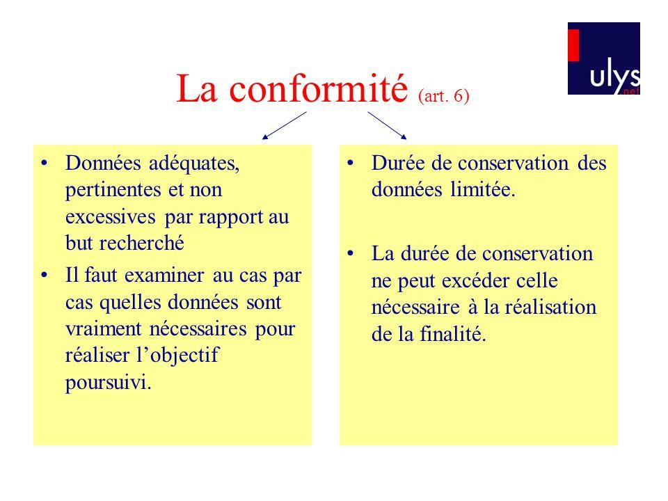La conformité (art. 6) Données adéquates, pertinentes et non excessives par rapport au but recherché.
