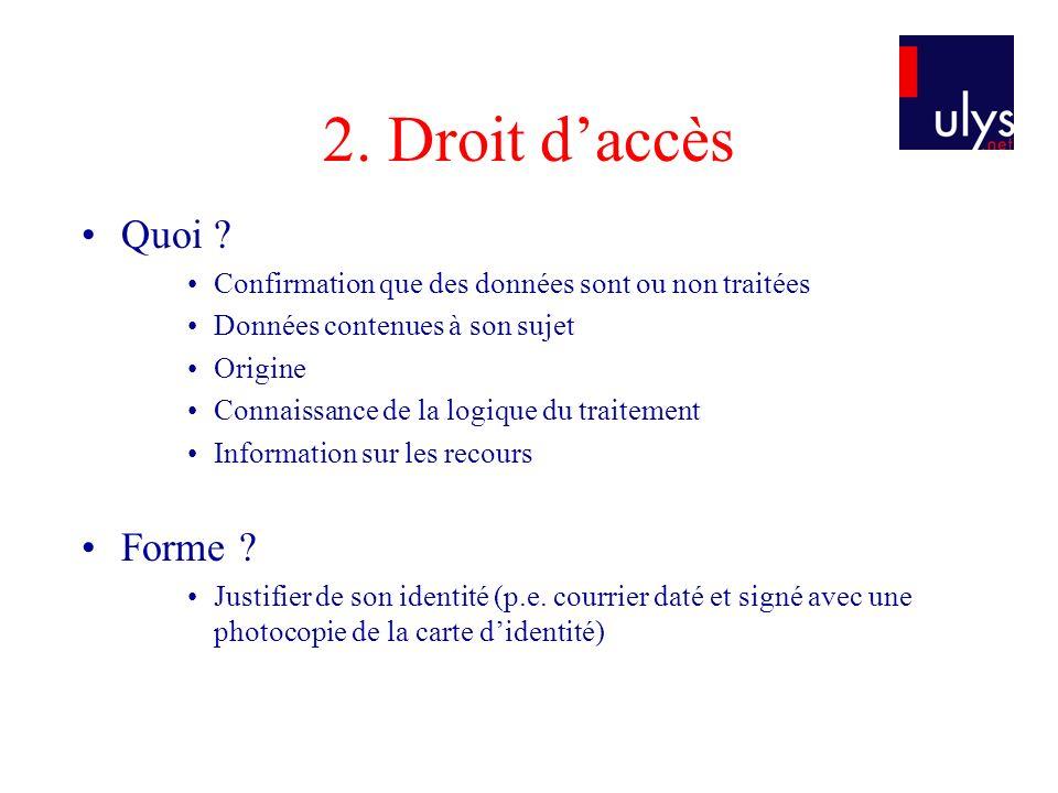 2. Droit d'accès Quoi Forme