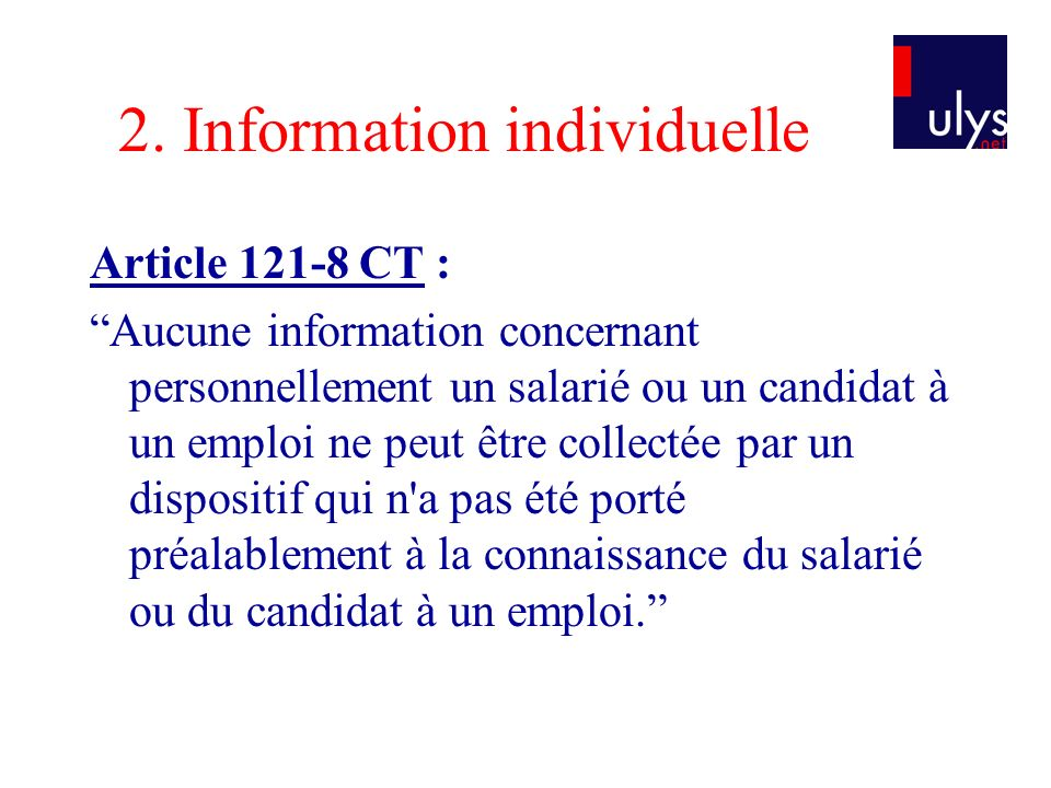 2. Information individuelle