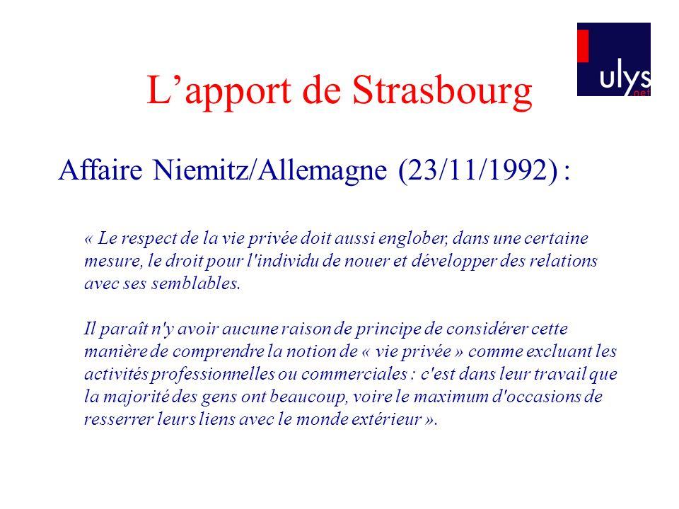 L'apport de Strasbourg