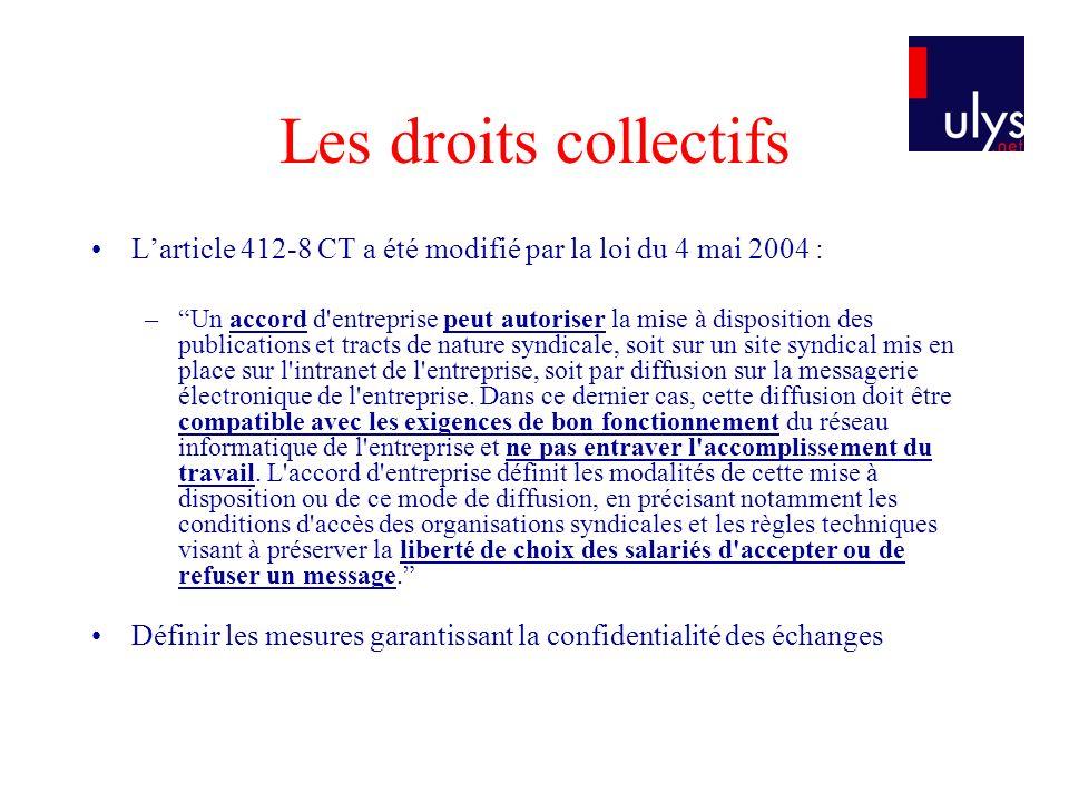 Les droits collectifs L'article 412-8 CT a été modifié par la loi du 4 mai 2004 :