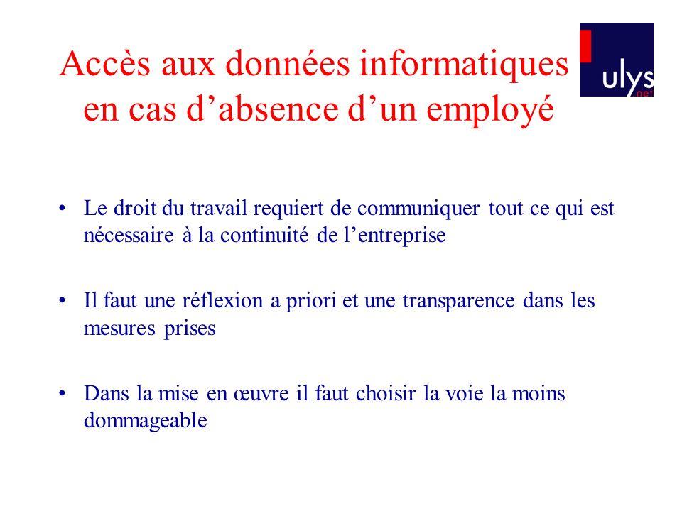Accès aux données informatiques en cas d'absence d'un employé
