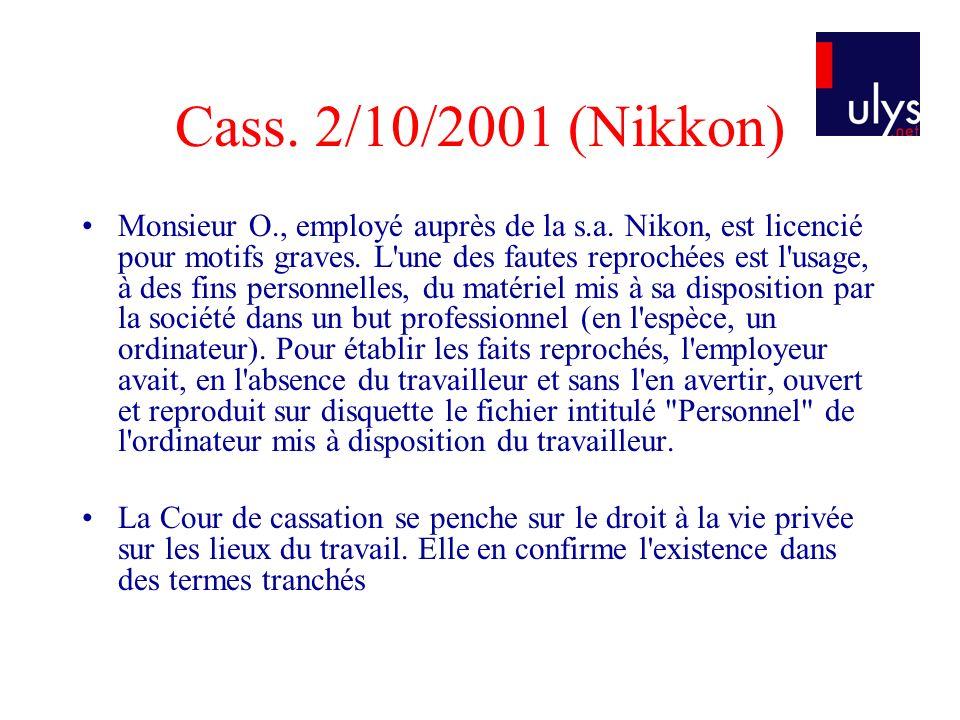 Cass. 2/10/2001 (Nikkon)