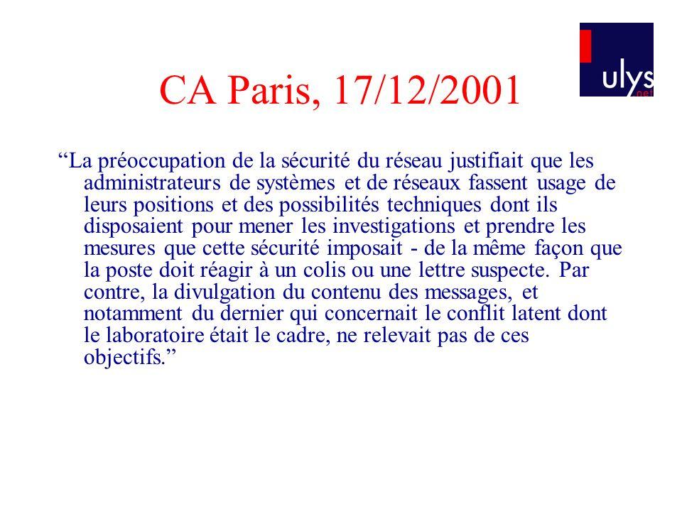 CA Paris, 17/12/2001