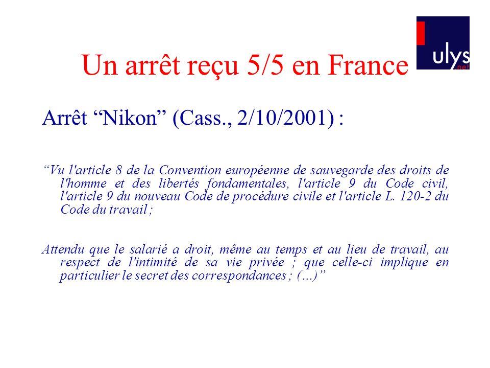 Un arrêt reçu 5/5 en France