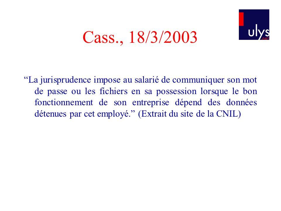 Cass., 18/3/2003