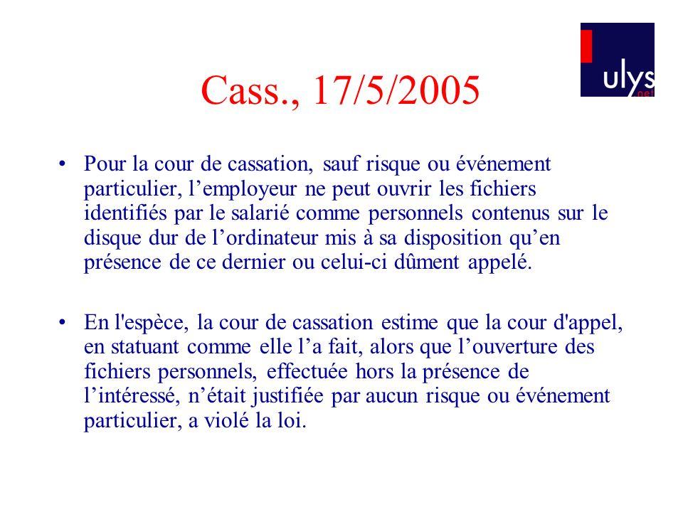 Cass., 17/5/2005