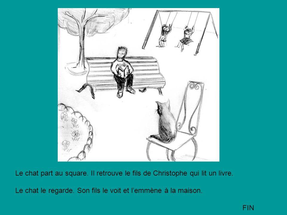 Le chat part au square. Il retrouve le fils de Christophe qui lit un livre.