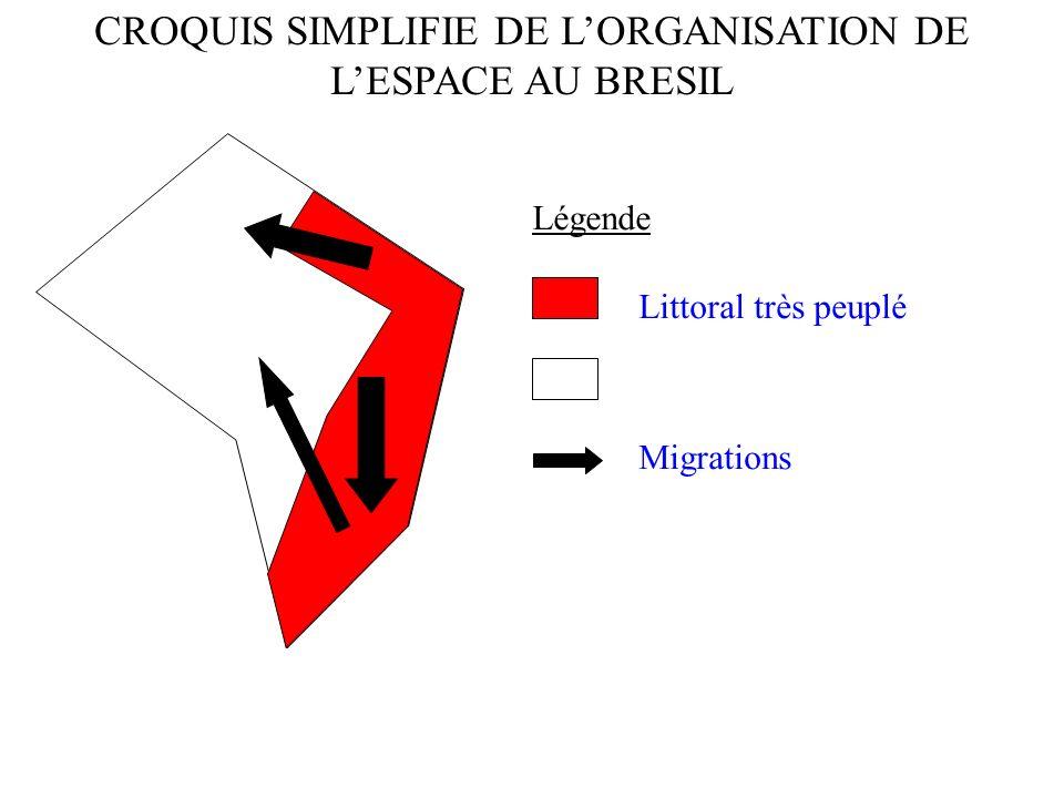 CROQUIS SIMPLIFIE DE L'ORGANISATION DE L'ESPACE AU BRESIL