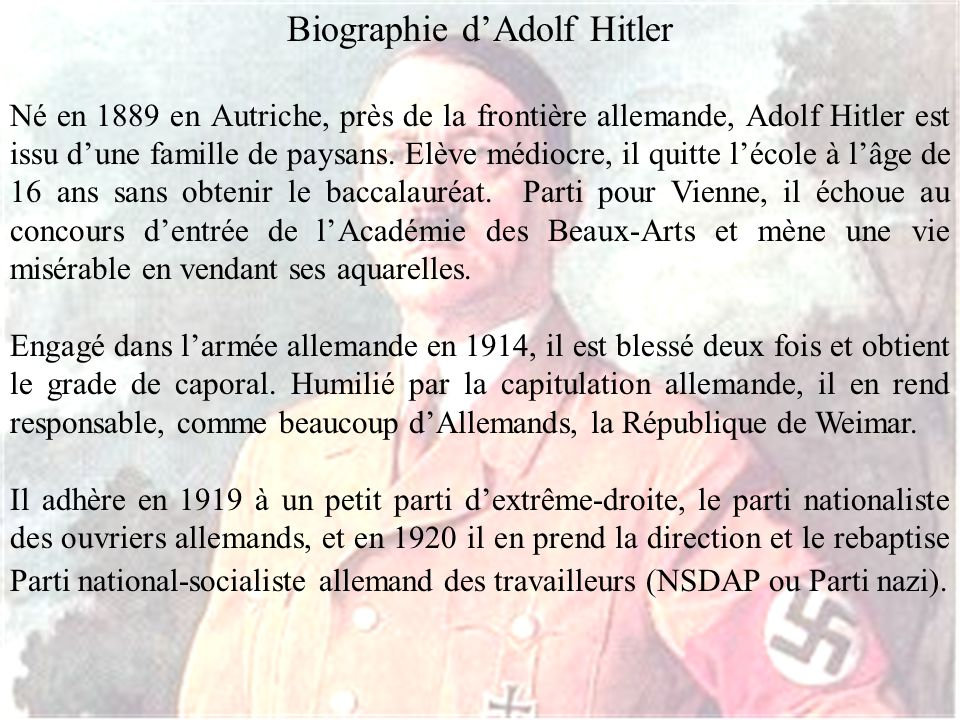 Biographie d'Adolf Hitler