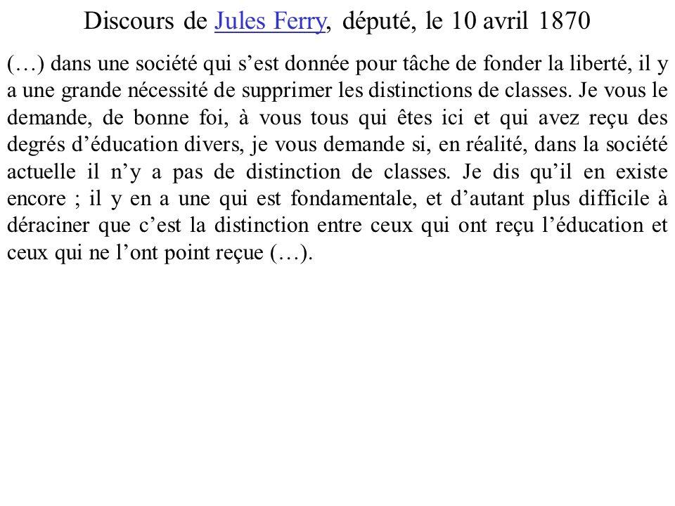 Discours de Jules Ferry, député, le 10 avril 1870