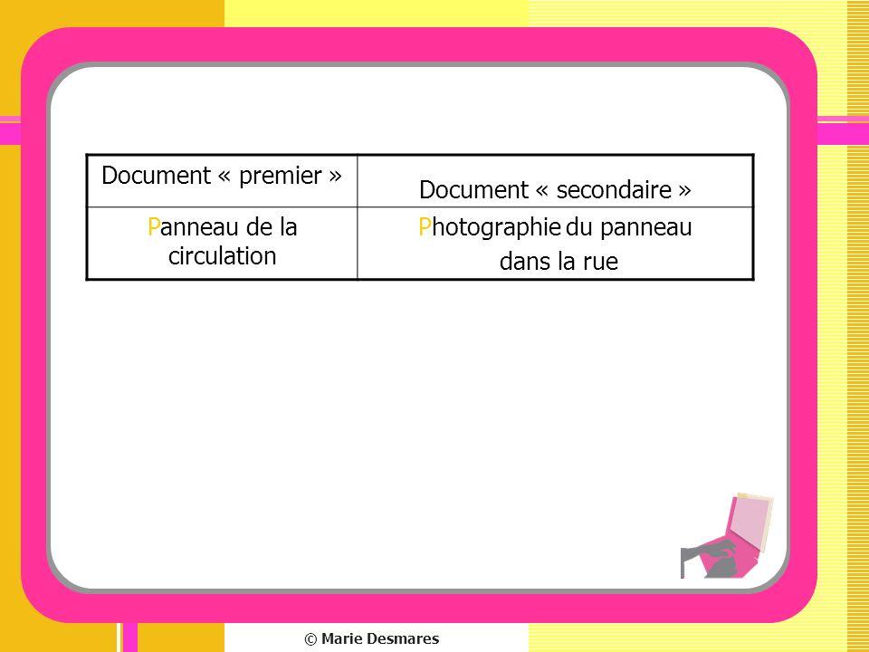Document « secondaire » Panneau de la circulation