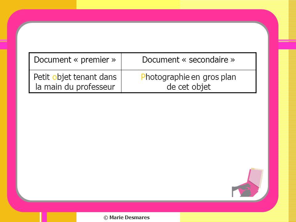 Document « secondaire » Petit objet tenant dans la main du professeur