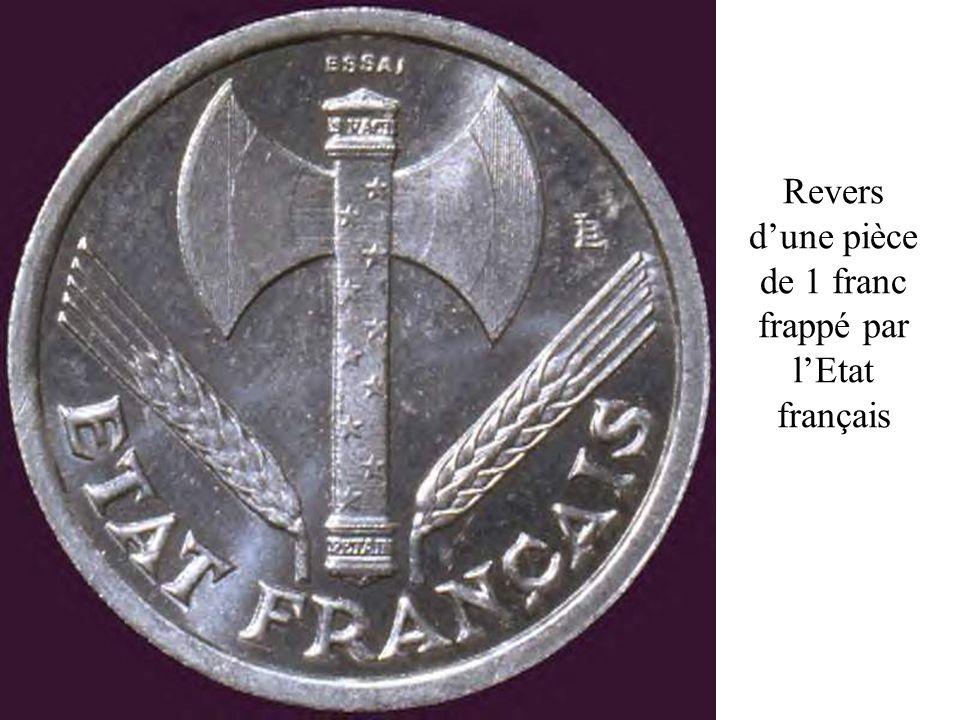 Revers d'une pièce de 1 franc frappé par l'Etat français